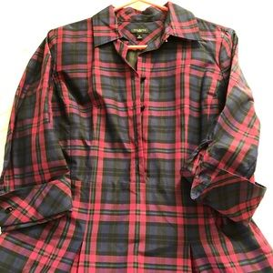Talbots plaid shirt-dress